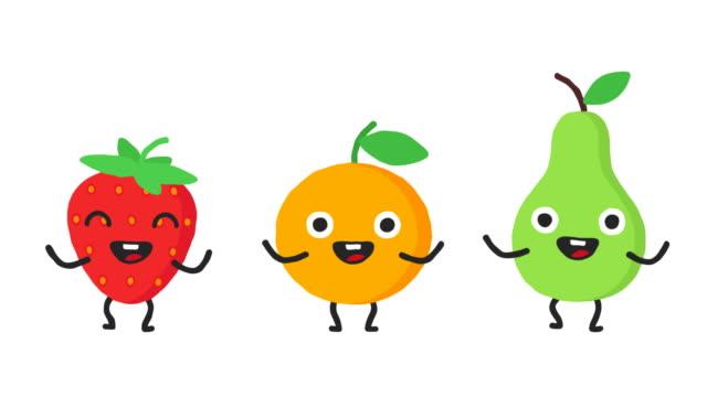 Gruppe-tanzen-Früchte-Erdbeere-orange-Birne-Loop-Animation-Alpha-Kanal-