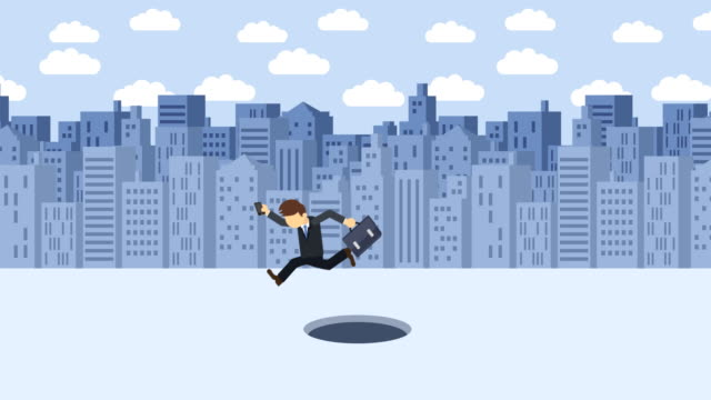 Hombre-de-negocios-saltar-sobre-el-agujero-Fondo-de-los-edificios-Concepto-de-riesgo-Ilustración-de-estilo-plano-del-lazo-