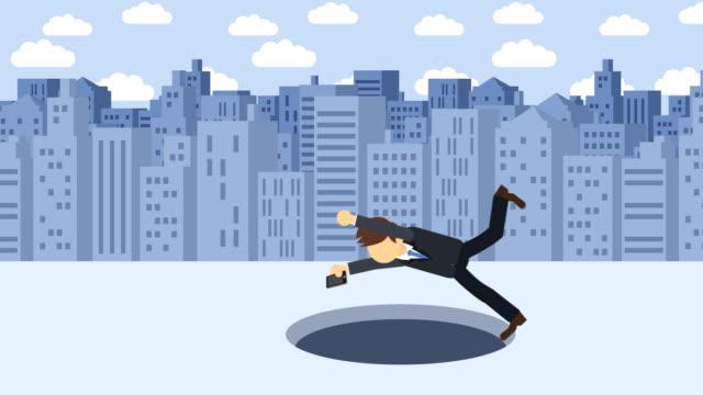 Hombre-de-negocios-caen-en-el-agujero-Fondo-de-los-edificios-Concepto-de-riesgo-Ilustración-de-estilo-plano-del-lazo-