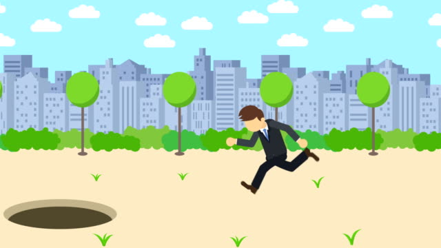 Business-man-jump-over-the-hole-Background-of-town-Risk-concept-Loop-illustration-in-flat-style-