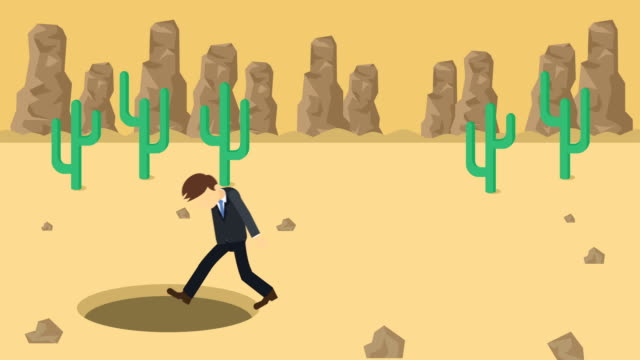 Business-man-fall-into-the-hole-Background-of-desert-Risk-concept-Loop-illustration-in-flat-style-