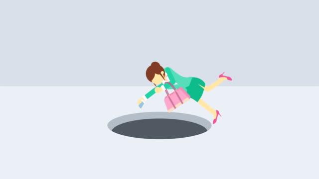 Mujer-de-negocios-caen-en-el-agujero-Concepto-de-riesgo-Ilustración-de-estilo-plano-del-lazo-