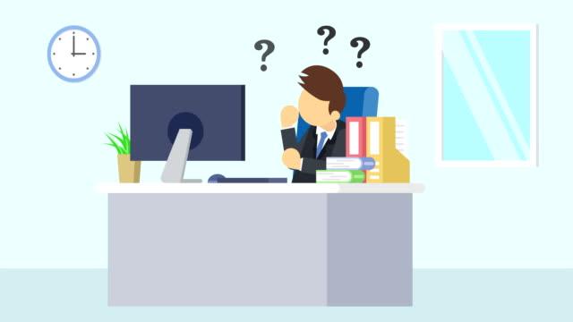 Hombre-de-negocios-está-funcionando-Pensar-en-problemas-Concepto-de-la-emoción-del-negocio-Ilustración-de-estilo-plano-del-lazo-