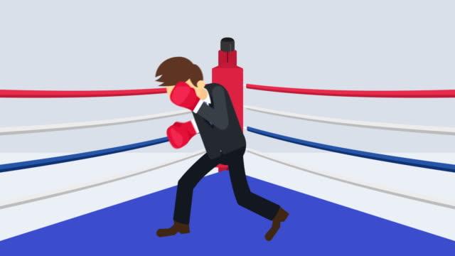 Batalla-de-hombre-de-negocios-en-guantes-de-boxeo-Concepto-de-competencia-empresarial-Ilustración-de-estilo-plano-del-lazo-