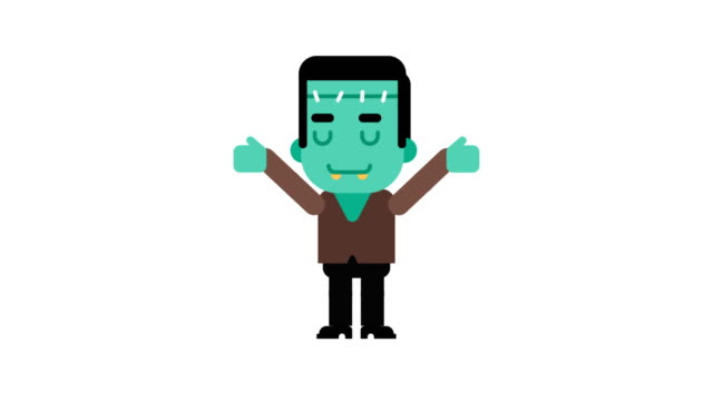 Monster-rejoices-raises-his-hands-up-Halloween-character-Alpha-channel-