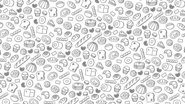 Panadería-móvil-gire-a-mano-de-dibujos-animados-de-fondo-patrón-dibujo-ilustración-de-trazo-de-contorno-aislada-sobre-fondo-blanco-sin-costuras-bucle-de-animación-4K