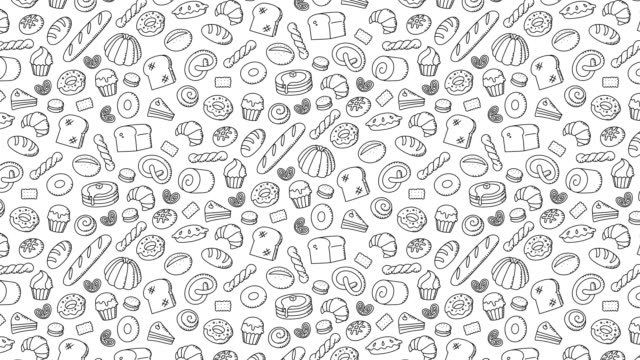 Panadería-móvil-mano-de-dibujos-animados-de-fondo-patrón-dibujo-ilustración-de-trazo-de-contorno-aislada-sobre-fondo-blanco-sin-costuras-bucle-de-animación-4K