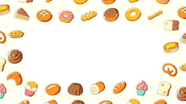 Panadería-móvil-remolino-marco-patrón-fondo-dibujos-animados-mano-dibujo-ilustración-aislada-sobre-fondo-blanco-sin-fisuras-bucle-de-animación-4K-con-espacio-de-copia-de-centro
