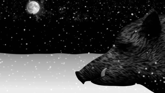 Wild-boar-in-a-night-snowy-winter-forest-animation