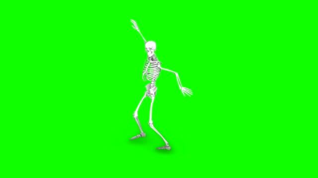 Skelett-auf-einem-isolierten-grünen-Hintergrund-nahtlose-Schleife-Animation-tanzen