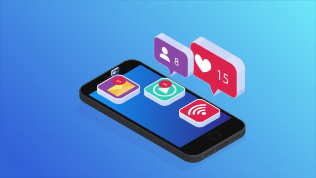 Social-networks-icons-on-the-phone-Isometric-projection-