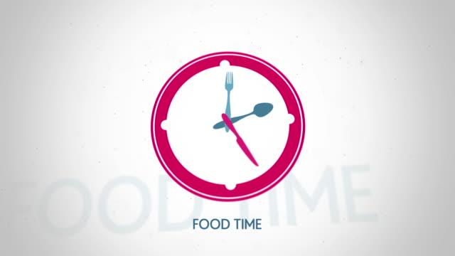 Food-time-clock-symbol-flat-animation