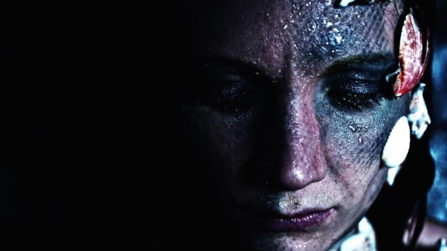 4k-Halloween-Shot-of-a-Horror-Woman-Mermaid-opening-Whiteout-Eyes