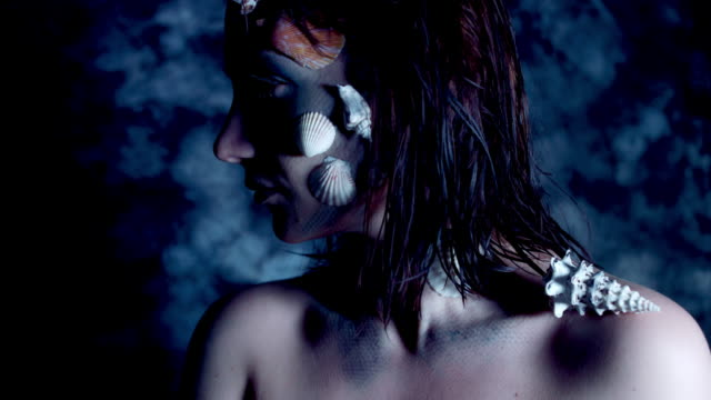 4k-Halloween-Shot-of-a-Horror-Woman-Mermaid-Turning-at-Camera