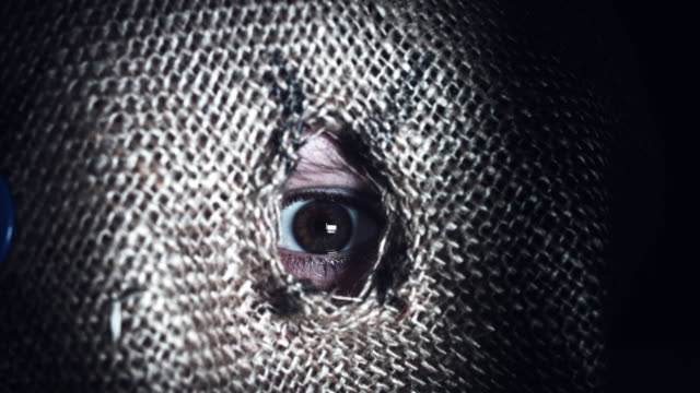 4K-Horror-Scarecrow-with-Sackcloth-Mask-Looking-zoom-out