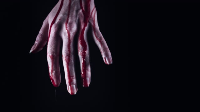 4K-Horror-Creepy-Woman-Hand-Bleeding-after-Suicide-close-up