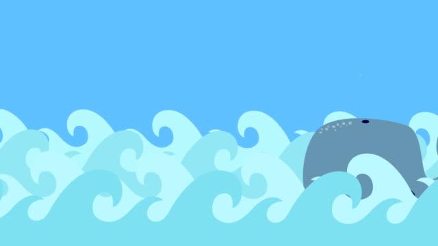 Cartoon-Whale-Swims-In-The-Sea-On-A-Blue-Sky