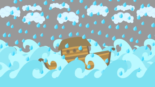 Noahs-Ark-Floating-In-The-Middle-Of-The-Sea-With-Cloudy-Sky-And-Rain