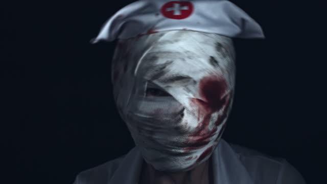 4k-Horror-Nurse-Zombie-Head-Shaking-Creepy