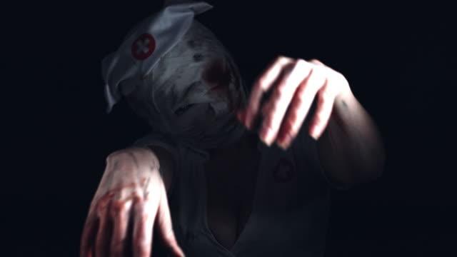 4k-Horror-Nurse-Zombie-Posing-with-Shaky-Hands