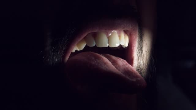 4K-Thriller-Horror-Man-Mouth-Grimacing-in-Darkness