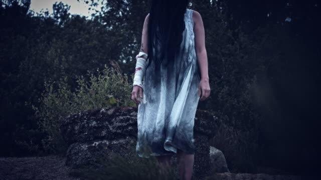 4k-Horror-Woman-in-Dirty-Dress-Standing