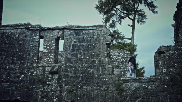4k-Horror-Psycho-Woman-Walking-in-Abandoned-Castle