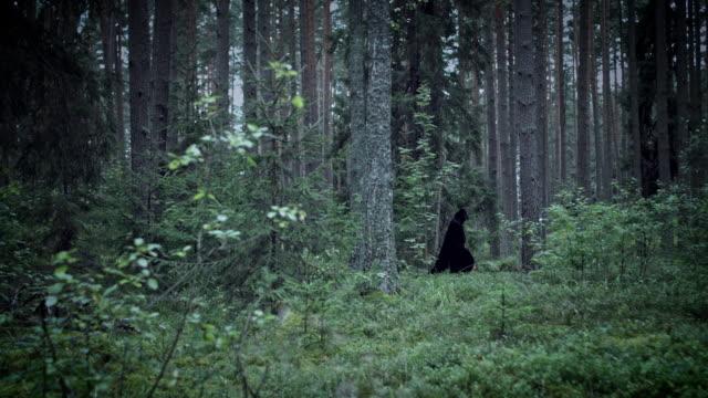 4K-Halloween-Horror-Mann-zu-Fuß-In-Wald-mit-schwarzen-Umhang