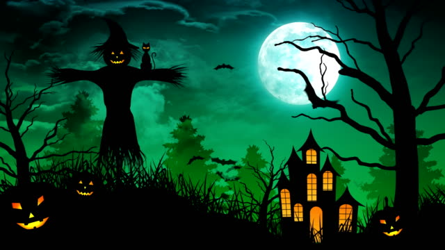 ScareCrow-near-Castle-and-Moon