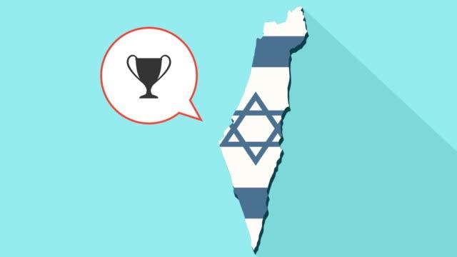 Animación-de-un-mapa-de-Israel-de-larga-sombra-con-su-bandera-y-un-globo-de-cómic-con-un-trofeo
