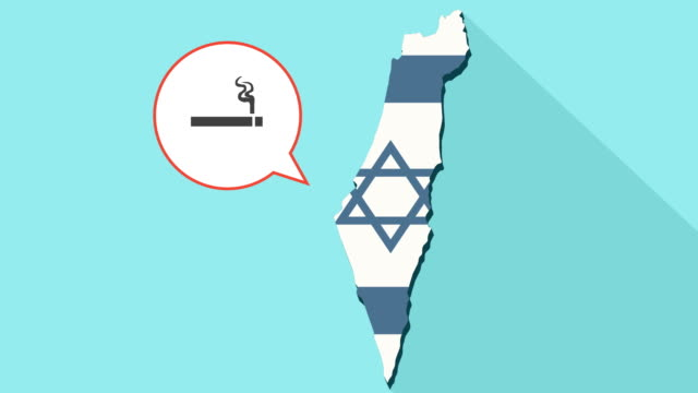 Animation-of-a-long-shadow-Israel-map-with-its-flag-and-a-comic-balloon-with-a-cigarette