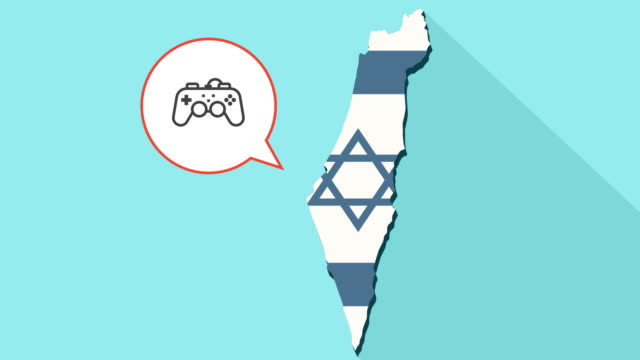 Animation-of-a-long-shadow-Israel-map-with-its-flag-and-a-comic-balloon-with-a-game-pad