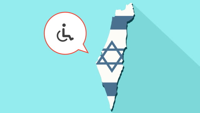 Animation-of-a-long-shadow-Israel-map-with-its-flag-and-a-comic-balloon-with-a-human-figure-in-a-wheelchair-icon