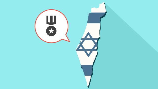 Animación-de-un-mapa-de-Israel-de-larga-sombra-con-su-bandera-y-un-globo-de-cómic-con-una-medalla