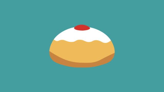 Hanukkah-holiday-Sufganiyah-flat-design-animation-icon
