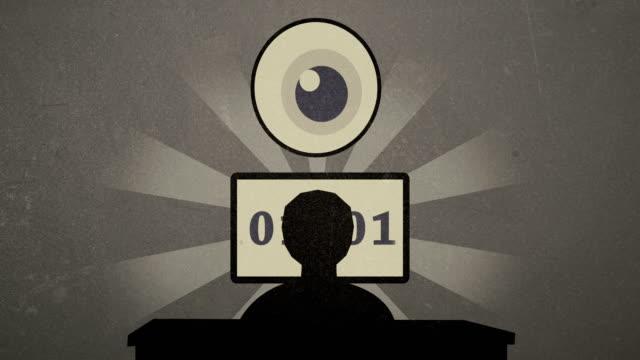 4k-estado-vigilancia-y-codificación-de-vídeo-de-animación-de-Cartoon-Vintage-por-los-Hackers-