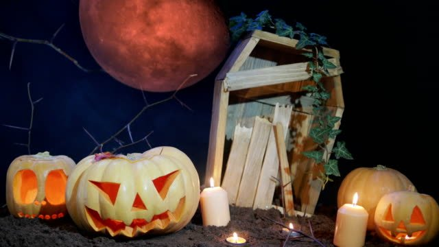 Halloween-Friedhof-Blood-Moon-und-Jack-o-Laterne