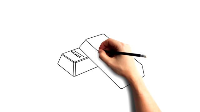 Whiteboard-Stop-Motion-Style-Animation-Hand-drawing-gold-bars
