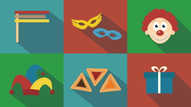 Purim-holiday-flat-design-animation-icon-set-with-traditional-symbols