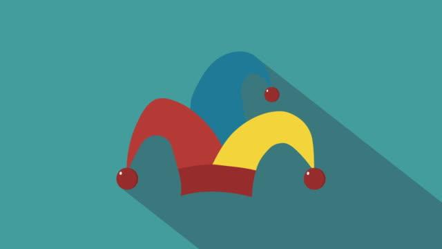 Clown-jester-hat-flat-design-animation-icon