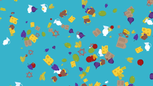 Shavuot-holiday-flat-design-animation-background-with-traditional-symbols