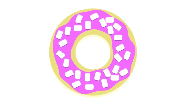 Cute-Donut-animation-appearing-on-screen-unhealthy-food-concept-pink