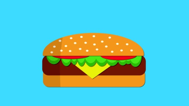 Beef-burger-appearing-then-eaten-motion-graphic-keyable-background