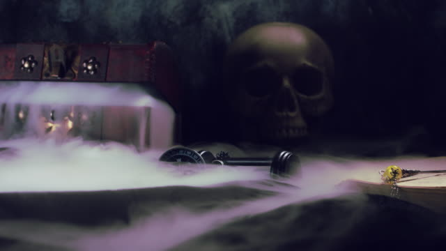 4k-Abstract-Halloween-Background-Composition-with-Skull-Smoke-pouring-from-box