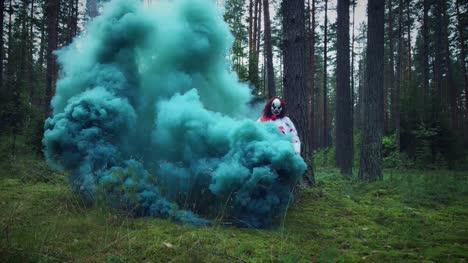 4K-Halloween-Horror-Clown-in-Forest-Walks-in-Smoke