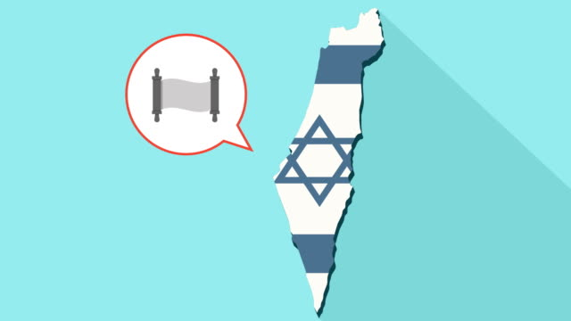 Animation-of-a-long-shadow-Israel-map-with-its-flag-and-a-comic-balloon-with-a-torah-scroll