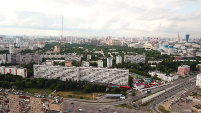 Moscow-Russia-Aerial-view-of-the-blocks-of-flats-power-station-and-radio-tower