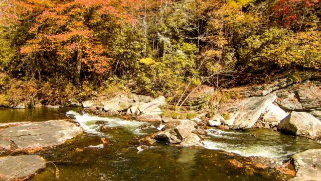 Corriente-de-agua-con-árboles-otoño-color-en-cataratas-Linville-Carolina-del-Norte
