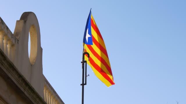sun-light-blue-sky-España-bandera-meciéndose-al-viento-4-K-barcelona
