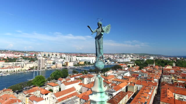Angel-on-top-of-tower-of-cathedral-of-St-Anastasia-in-Zadar-Croatia
